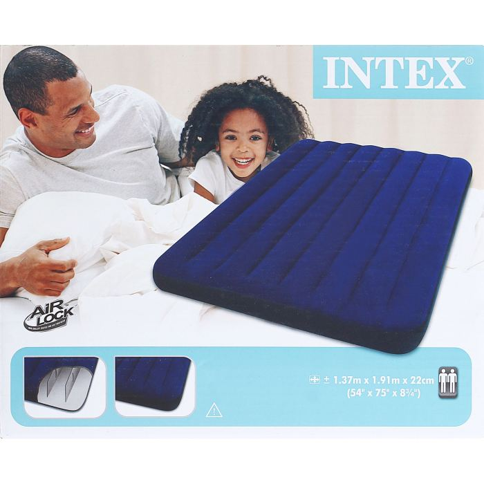 "Матрас надувной Intex ""Classic Downy Full"", цвет: синий, 137 х 191 х 22 см. 68758"
