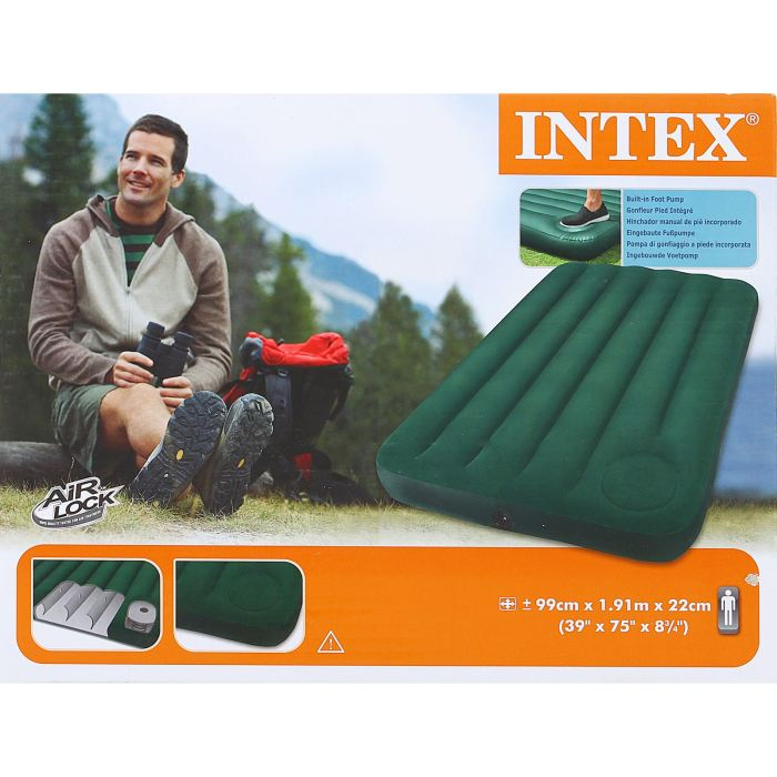 Матрас надувной Intex Downy Twin 99х191х22 см, цвет: зеленый. 66927 intex надувной матрас downy bed