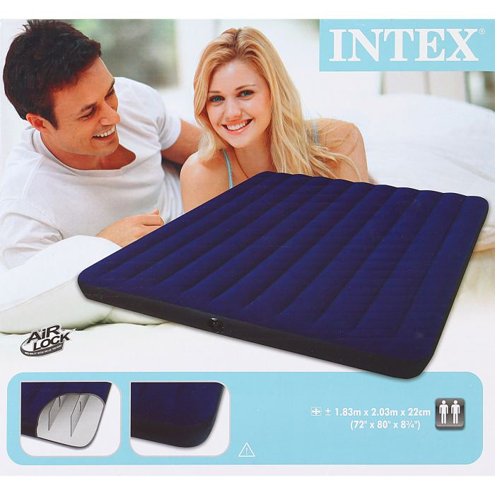 Матрас надувной Intex Classic Downy King, цвет: синий, 183 х 203 х 22 см. 68755 матрас intex classic downy bed