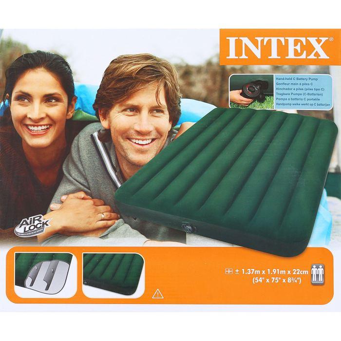 Матраc надувной Intex Prestige Downy Full, цвет: зеленый, 137 х 191 х 22 см. 66968720688Надувной матрас Prestige Downy Full — идеальный вариант для поездок на природу и приема гостей. Спальное место в сложенном виде имеет компактный размер, что позволяет брать его с собой куда угодно и удобно хранить дома. Матрас оснащен встроенным насосом на батарейках.Для установки достаточно разложить его, вставить насос и нажать кнопку. Изделие приобретет нужную форму за 2,5 минуты.Мягкая флокированная поверхность не даст вам соскользнуть или упасть. Размер матраса подойдет для комфортного сна двух человек. Размер матраса: 137 х 19 1 х 22 см.Насос работает от батареек (6 С). Уважаемые клиенты!Просим обратить ваше внимание на тот факт, что кровать поставляется в сдутом виде и надувается при помощи насоса (в комплекте).