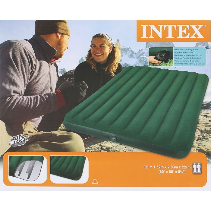 Матраc надувной Intex Prestige Downy Queen, цвет: зеленый, 152 х 203 х 22 см. 66969 intex надувной матрас downy bed