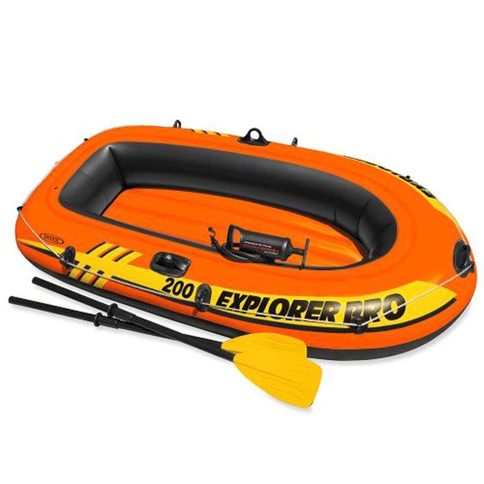 Лодка надувная Intex Explorer Pro 200, цвет: оранжевый. 58357NP747930Надувная двухместная лодка Intex Explorer Pro 200 состоит из абсолютно независимых трех воздушных отсеков. Каждый отсек имеет клапан для быстрого скачивания и надувания лодки. Основной, внешний отсек придает лодке форму. Внутренние отсеки создают жесткость лодки на плаву и обеспечивают пассивную безопасность, в случае повреждения основного отсека. Надувной пол обеспечивает дополнительный комфорт нахождения внутри изделия. Для удобства конструкция надувного пола сделана волнистой, поперек бортам лодки. Лодка имеет крепления для весел и две лодочные уключины. На носу имеется пластиковая ручка, для переноса лодки или спуска на воду. Вокруг внешней камеры лодки находится веревочный трос, его можно использовать как для буксировки лодки, так и для швартования.Размер лодки (в надутом состоянии):196 х 102 х 33 см. Максимальная нагрузка: 120 кг.