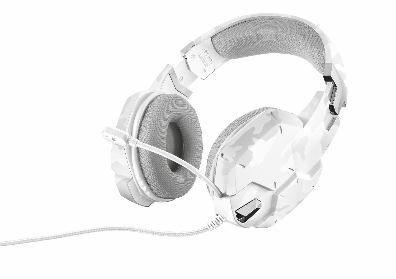 Trust GXT 322C, White игровая гарнитура20864Наушники Trust GXT 322C с гибким микрофоном и мощными динамиками для передачи низких частот. Амбушюры, покрытые специальным сетчатым материалом, обеспечивают комфорт даже после нескольких часов интенсивной игры. Регулируемое оголовье. Регулятор громкости и кнопка отключения микрофона расположены непосредственно на наушниках. Не запутывающийся нейлоновый кабель в оплетке (2 м).Как выбрать игровые наушники. Статья OZON Гид