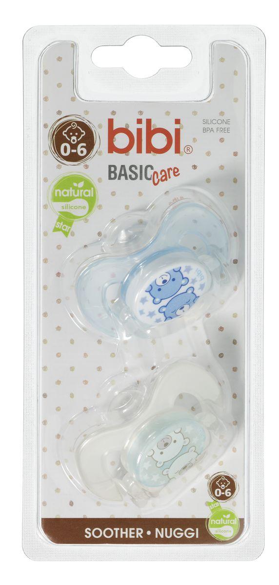Bibi Пустышка Natural BasicCare ДУО Коллекция №6 силиконовая 0-6 месяцев 2 шт -  Все для детского кормления