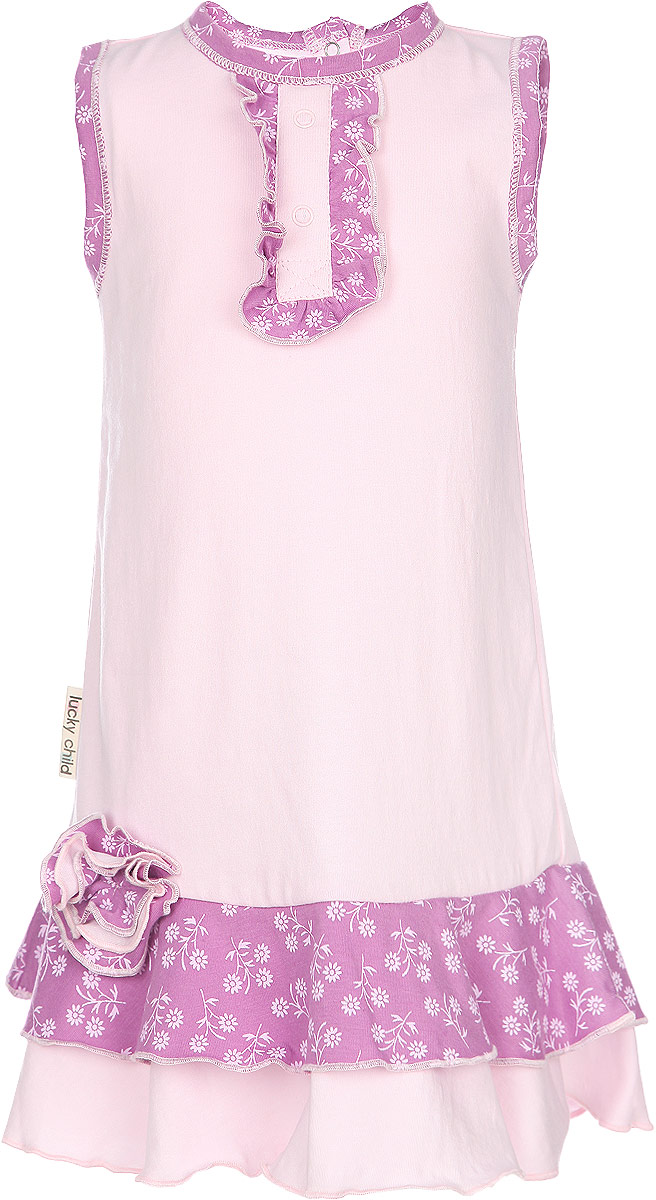Платье для девочки Lucky Child Цветочки, цвет: розовый. 11-61. Размер 98/104, 4 года11-61Стильное платье для девочки Lucky Child идеально подойдет вашей маленькой моднице. Изготовленное из натурального хлопка, оно мягкое и приятное на ощупь, не сковывает движения и позволяет коже дышать, не раздражает даже самую нежную и чувствительную кожу ребенка, обеспечивая наибольший комфорт.Модель застегивается на спинке на кнопки. Платье оформлено контрастными вставками и оборочками, которые придают ему легкость и шарм.Современный дизайн и модная расцветка делают это платье незаменимым предметом детского гардероба. В нем вашей маленькой леди будет комфортно и уютно, и она всегда будет в центре внимания!
