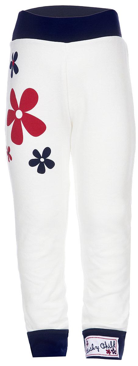 Штанишки для девочки Lucky Child, цвет: белый, темно-синий, красный. 18-11. Размер 92/98, 3 года