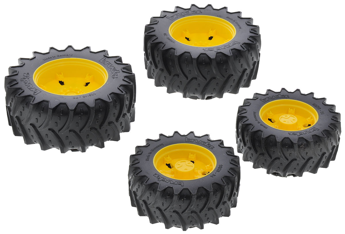 Bruder Шины для системы сдвоенных колес цвет желтый 4 шт шины для системы сдвоенных колес bruder 02 013