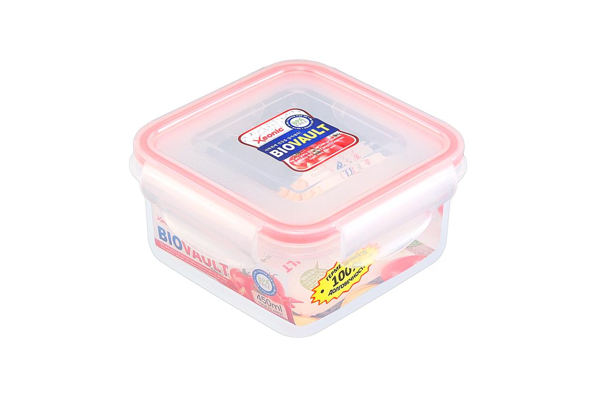 Контейнер пищевой Xeonic, цвет: прозрачный, красный, 450 мл. 810055810055Пластиковый герметичный контейнер для хранения продуктов Xeonic произведен из высококачественных материалов, имеет 100% герметичность, термоустойчив, может быть использованы в микроволновой печи и в морозильной камере, устойчив к воздействию масел и жиров, не впитывают запах. Удобен в использовании, долговечен, легко открывается и закрывается, не занимает много места, можно мыть в посудомоечной машине.Размеры контейнера: 11,9 х 11,9 х 6 см.