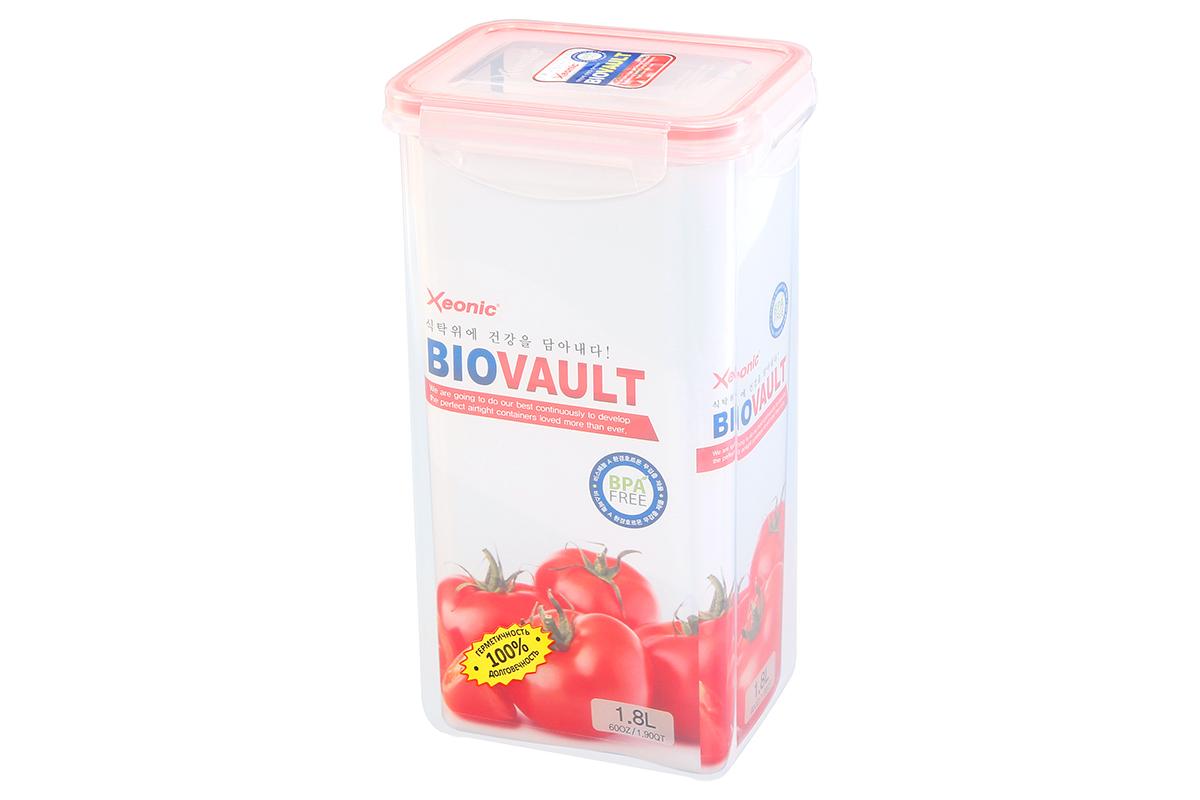 Контейнер пищевой Xeonic, цвет: прозрачный, красный, 1,8 л. 810080