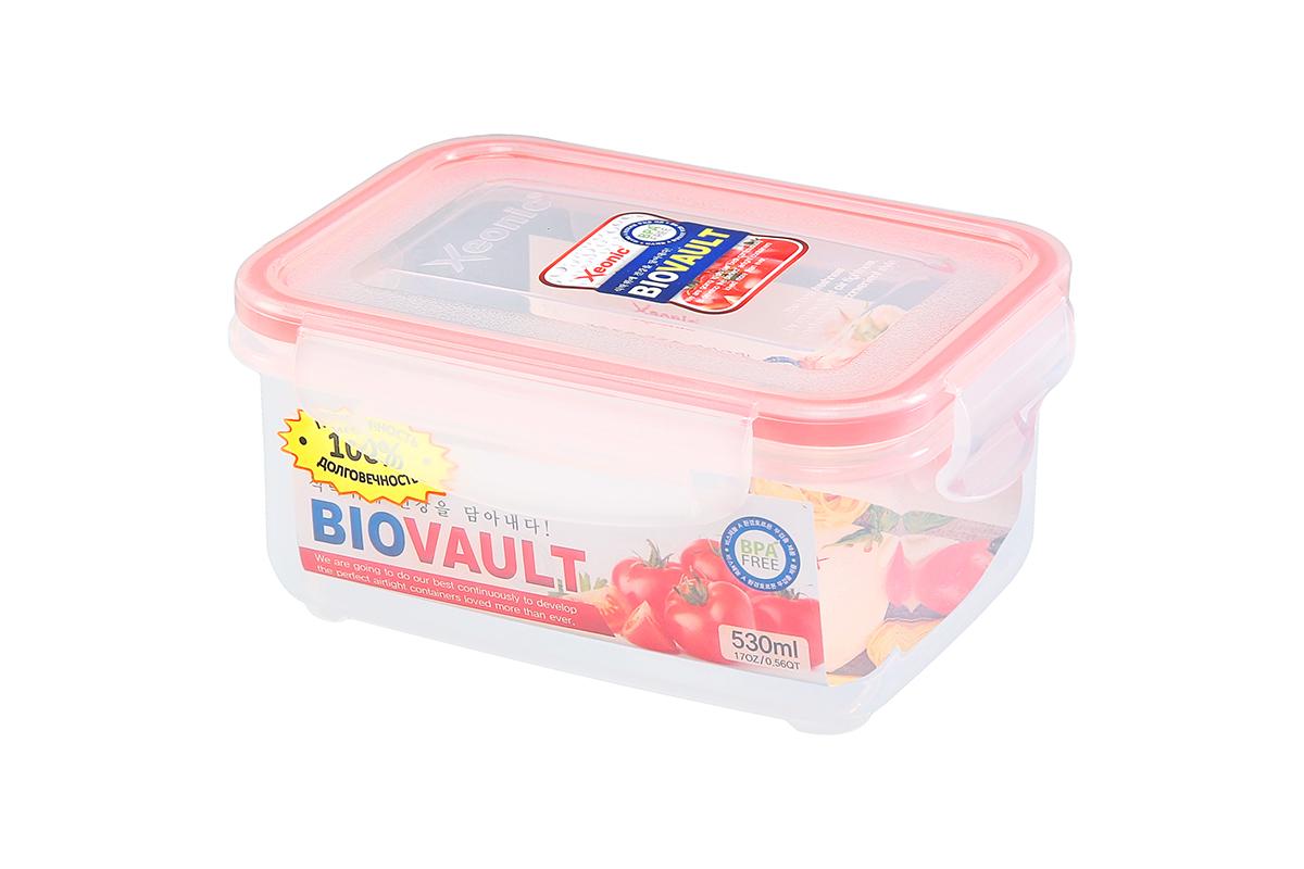 Контейнер пищевой Xeonic, прямоугольный, цвет: прозрачный, красный, 530 мл. 810085