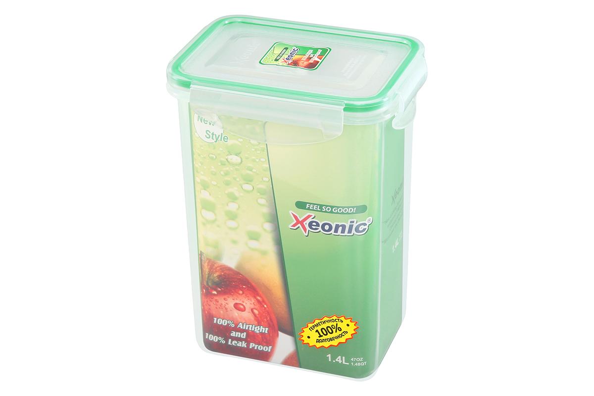"""Пластиковые герметичные контейнеры для хранения продуктов """"Xeonic"""" произведены из высококачественных материалов, имеют 100% герметичность, термоустойчивы, могут быть использованы в микроволновой печи и в морозильной камере, устойчивы к воздействию масел и жиров, не впитывают запах. Удобны в использовании, долговечны, легко открываются и закрываются, не занимают много места, можно мыть в посудомоечной машине.   Размеры контейнера: 13,5 х 10 х 18,5 см."""