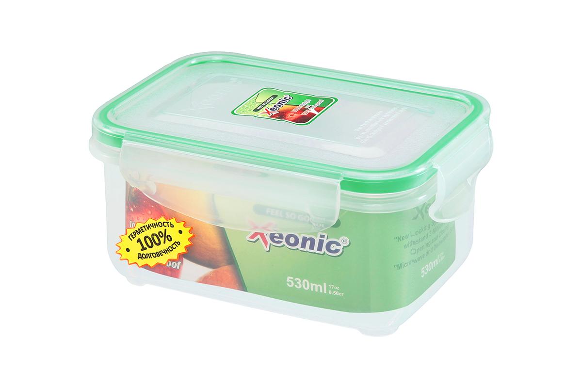 """Пластиковый герметичный контейнер для хранения продуктов """"Xeonic"""" произведен из  высококачественных материалов, имеет 100% герметичность, термоустойчив, может быть  использован в микроволновой печи и в морозильной камере, устойчив к воздействию масел и  жиров, не впитывают запах. Удобен в использовании, долговечен, легко открывается и  закрывается, не занимает много места, можно мыть в посудомоечной машине.   Размеры  контейнера: 14,7 х 10,5 х 7,1 см."""