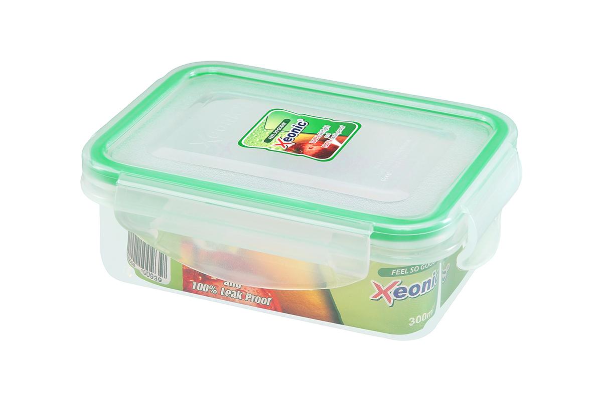 Контейнер пищевой Xeonic, прямоугольный, цвет: прозрачный, зеленый, 300 мл