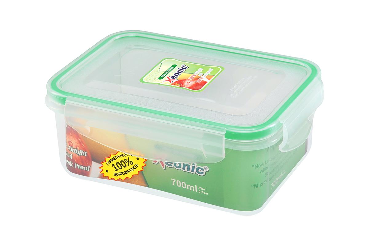 Контейнер пищевой Xeonic, прямоугольный, цвет: прозрачный, зеленый, 700 мл. 810094