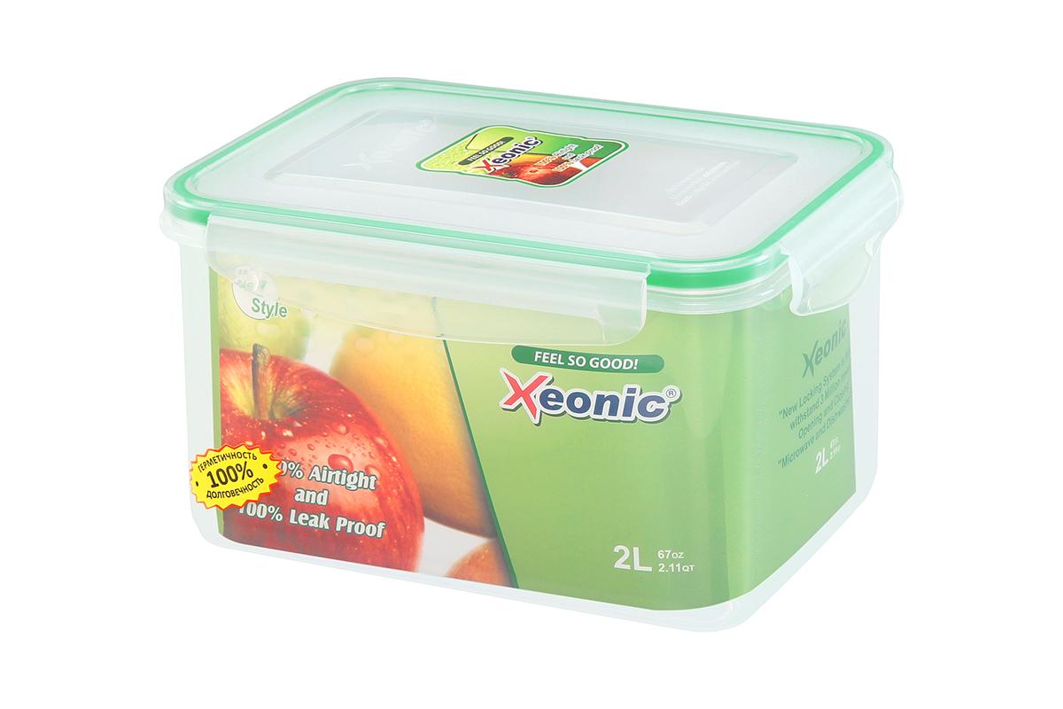 Контейнер пищевой Xeonic, прямоугольный, цвет: прозрачный, зеленый, 2 л. 810100810100Пластиковые герметичные контейнеры для хранения продуктов Xeonic произведены из высококачественных материалов, имеют 100% герметичность, термоустойчивы, могут быть использованы в микроволновой печи и в морозильной камере, устойчивы к воздействию масел и жиров, не впитывают запах. Удобны в использовании, долговечны, легко открываются и закрываются, не занимают много места, можно мыть в посудомоечной машине. Размеры контейнера: 20 х 14 х 11,9 см.