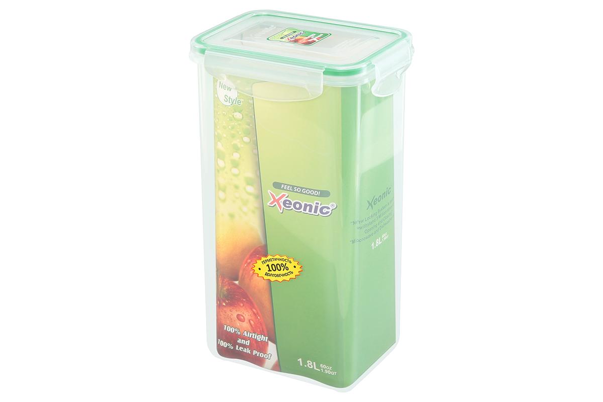 Контейнер пищевой Xeonic, прямоугольный, цвет: прозрачный, зеленый, 1,8 л. 810103810103Контейнер Xeonic, изготовленный из высококачественного полипропилена, предназначен для хранения любых пищевых продуктов. Крышка с силиконовой вставкой герметично защелкивается специальным механизмом. На крышке расположена удобная ручка для переноски. Изделие устойчиво к воздействию масел и жиров, не впитывает запах. Прозрачные стенки позволяют видеть содержимое.Контейнер Xeonic удобен для ежедневного использования в быту, долговечен, легко открывается и закрывается, не занимает много места.Можно мыть в посудомоечной машине, использовать в микроволновой печи и морозильной камере.