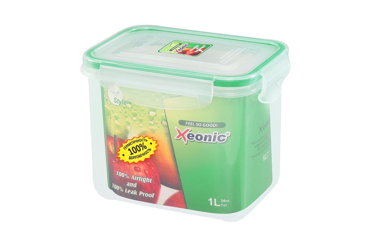Контейнер пищевой Xeonic, прямоугольный, цвет: прозрачный, зеленый, 1 л. 810104810104Пластиковый герметичный контейнер для хранения продуктов Xeonic произведен из высококачественных материалов, имеет 100% герметичность, термоустойчив, может быть использован в микроволновой печи и в морозильной камере, устойчив к воздействию масел и жиров, не впитывают запах. Удобен в использовании, долговечен, легко открывается и закрывается, не занимает много места, можно мыть в посудомоечной машине. Размеры контейнера: 14,7 х 10,5 х 11,7 см.