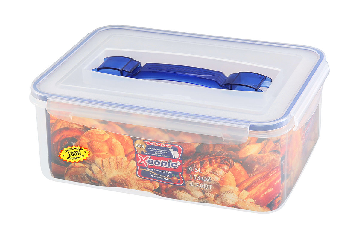 Контейнер пищевой Xeonic, прямоугольный, с ручкой, цвет: прозрачный, синий, 4,5 л. 810109810109Контейнер Xeonic, изготовленный из высококачественногополипропилена, предназначен для хранения любых пищевых продуктов. Крышка с силиконовойвставкой герметично защелкивается специальным механизмом. На крышке расположенаудобная ручка для переноски. Изделие устойчиво квоздействию масел и жиров, не впитывает запах. Прозрачные стенки позволяют видетьсодержимое. Контейнер Xeonic удобен для ежедневного использования в быту, долговечен,легко открывается и закрывается, не занимает много места. Можно мыть в посудомоечной машине, использовать в микроволновой печи и морозильнойкамере.