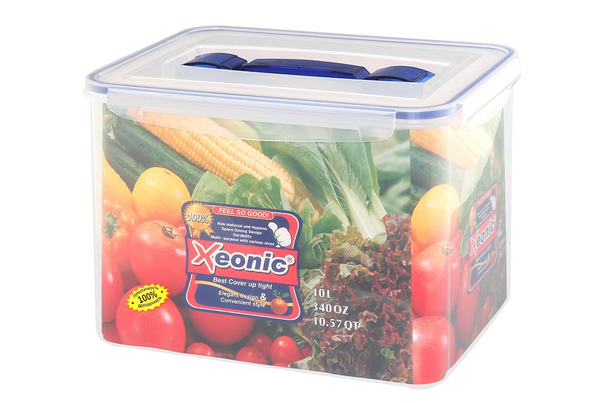 Контейнер пищевой Xeonic, прямоугольный, с ручкой, цвет: прозрачный, синий, 9,8 л. 810110810110Пластиковые герметичные контейнеры для хранения продуктов Xeonic произведены из высококачественных материалов, имеют 100% герметичность, термоустойчивы, могут быть использованы в микроволновой печи и в морозильной камере, устойчивы к воздействию масел и жиров, не впитывают запах. Удобны в использовании, долговечны, легко открываются и закрываются, не занимают много места, можно мыть в посудомоечной машине. Размеры контейнера: 29 х 20,5 х 21,5 см.