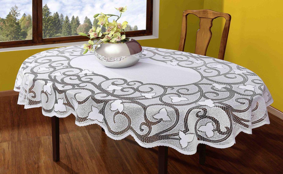 Скатерть Wisan, овальная, цвет: белый, 130 х 180 см007ВВеликолепная овальная скатерть Wisan органично впишется в интерьер любого помещения, а оригинальный дизайн удовлетворит даже самый изысканный вкус. Изделие выполнено из полиэстера и украшено изящным жаккардовым плетением. Края скатерти закруглены.