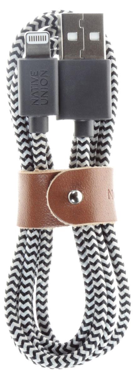 Native Union Belt, Black White кабель Apple Lightning (1,2 м)BELT-L-ZEB-2Native Union Belt Cable - это уникальный аксессуар, который создан с целью подчеркнуть вашу индивидуальность. Кабель с тканевой оплеткой оснащен специальным кожаным ремешком, который предотвращает спутывание и увеличивает срок службы кабеля, не позволяя ему перегибаться.