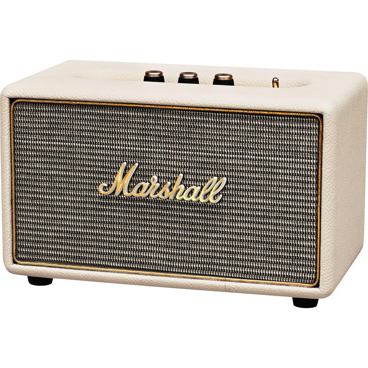 Marshall Acton, Cream акустическая система7340055309875Marshall Acton - самая компактная акустическая система из линейки производителя, выполненная в стиле легендарных гитарных усилителей.Колонка совместима с большинством аудиоустройств, а малые размеры позволяют слушать музыку в любом месте. Для подключения источника можно воспользоваться стандартным 3,5-мм разъемом или установить Bluetooth-соединение.Акустика Marshall Acton оформлена в классическом ретро-стиле, с прочным виниловым покрытием и золотой окантовкой. Все основные органы управления вынесены на верхнюю панель, что делает колонку удобной в эксплуатации, а 4 низкочастотный динамик и два 3/4 твиттера обеспечивают мощный детализированный звук.Marshall Acton - прекрасный выбор для всех любителей качественного звука в сочетании со стильным дизайном.Частота кроссовера: 4200 Гц