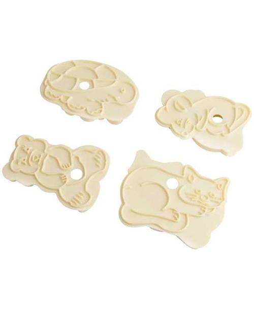 Формочка для печенья Zenker, цвет: бежевый, 4 шт43062Набор Zenker состоит из четырех пластиковых форм, предназначенных для вырезания объемного фигурного печенья. Формы выполнены в виде медвежонка, черепахи, кота и мышки. Если вы любите побаловать своих домашних вкусным и ароматным печеньем по вашему оригинальному рецепту, то формы для вырезания печенья как раз то, что вам нужно!