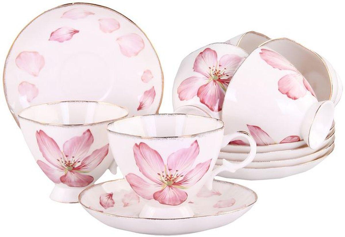 Набор чайный 12 предметов 220 мл, шт, ФЦ ОПТ PATRICIAIM04-0100Набор включает в себя 6 чашек и 6 блюдец в подарочной упаковке. Изделия украшены цветочным декором с позолотой. Этот комплект может стать практичным и недорогим подарком.