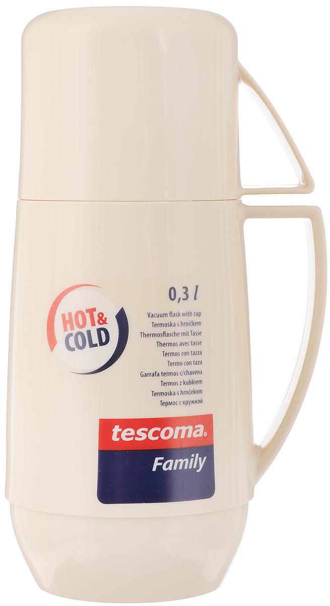 Термос Tescoma Family, с кружкой, цвет: бежевый, 0,3 л310512_бежевыйТермос Tescoma Family предназначен для хранения и переноски теплых и холодных напитков. Термос изготовлен из прочной пластмассы и снабжен стеклянной изоляционной колбой. Термос имеет удобную ручку и завинчивающуюся крышку, которая может выполнять функцию кружки с ручкой.Высота термоса: 21 см.