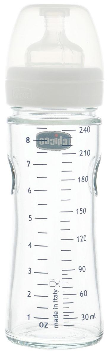 Chicco Бутылочка для кормления с силиконовой соской Well-Being Glass от 0 месяцев 240 мл -  Бутылочки