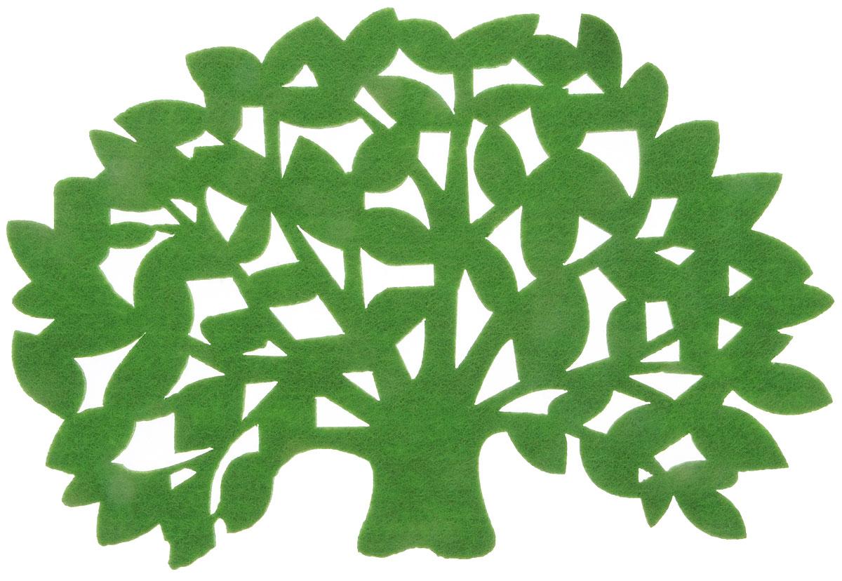 """Салфетка-подставка под горячее """"Blumen Haus""""  изготовлена из фетра и оформлена изысканной  перфорацией в виде листьев. Такая салфетка  прекрасно подойдет для украшения интерьера  кухни, она сбережет стол от высоких температур и  грязи. Размер салфетки: 20 х 13,5 см."""