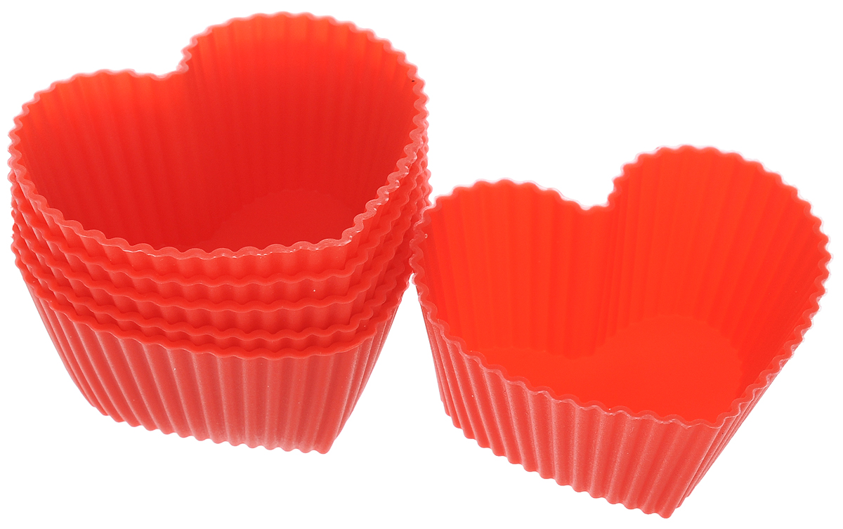 Набор форм для кексов Mayer & Boch Сердце, цвет: красный, 6 шт22068_красныйНабор Mayer & Boch Сердце состоит из шести форм для кексов, выполненных из силикона в виде сердца. Силиконовые формы для выпечки имеют много преимуществ по сравнению с традиционными металлическими формами и противнями. Они идеально подходят для использования в микроволновых, газовых и электрических печах. За счет высокой теплопроводности силикона изделия выпекаются заметно быстрее. Благодаря гибкости и неприлипающим свойствам силикона, готовое изделие легко извлекается из формы. Для этого достаточно отогнуть края и вывернуть форму (выпечке дайте немного остыть, а замороженный продукт лучше вынимать сразу). Силикон абсолютно безвреден для здоровья, не впитывает запахи, не оставляет пятен, легко моется.С набором форм Mayer & Boch Сердце вы всегда сможете порадовать своих близких оригинальной выпечкой.Размер формочек: 6,5 х 6 х 3 см. Как выбрать форму для выпечки – статья на OZON Гид.