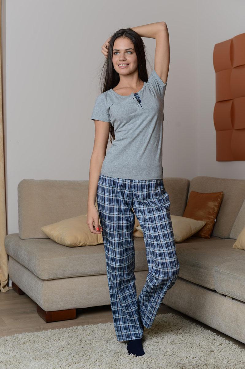Костюм домашний женский Alla Buone: футболка, брюки, цвет: серый-меланж, синий, черный. 8002. Размер S (42/44) футболка женская alla buone liscio цвет красный 7047 размер l 46 48