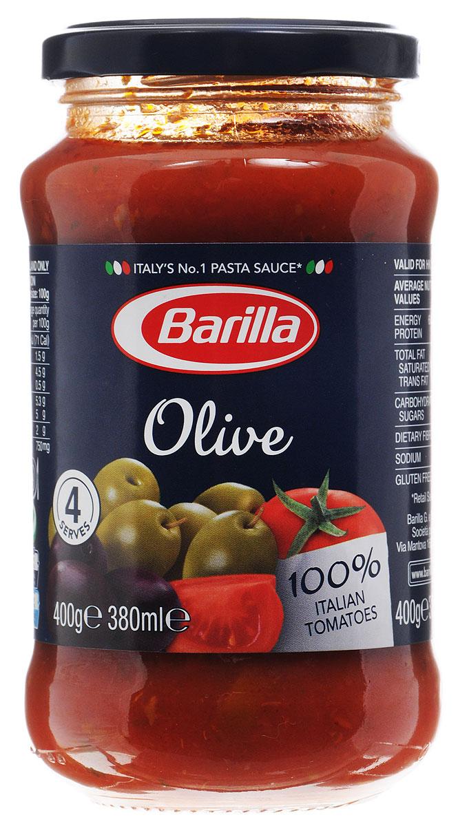 Barilla Sugo Olive оливковый соус, 400 г8076809513715Оливковый соус Barilla создан из черных и зеленых оливок, слегка обжаренных вместе с каперсами и луком. В сочетании с мякотью, созревших под ярким итальянским солнцем помидоров, они создают соус с насыщенным вкусом и ароматом Средиземноморского побережья. Не содержит консервантов и поможет вам создать простое и в то же время изысканное блюдо.Соус Оливковый идеально сочетается с Фузилли. Разогрейте соус в сковороде и смешайте с только что отваренной пастой. Может применяться в качестве основного соуса к пасте или как дополнение к блюдам из мяса, рыбы и овощей.