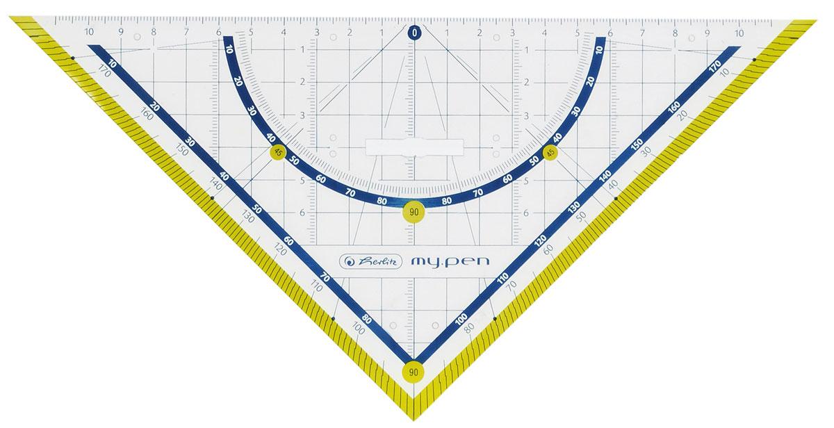 Herlitz Треугольник My Pen со съемным держателем цвет желтый 25 см11367976_желтыйТреугольник Herlitz My Pen со съемным держателем, выполненный из неломающегося пластика, подходит как для правшей, так и для левшей. Треугольник Herlitz My Pen - это незаменимый инструмент для построения и измерения углов. Высокое качество исполнения гарантирует длительный срок службы.
