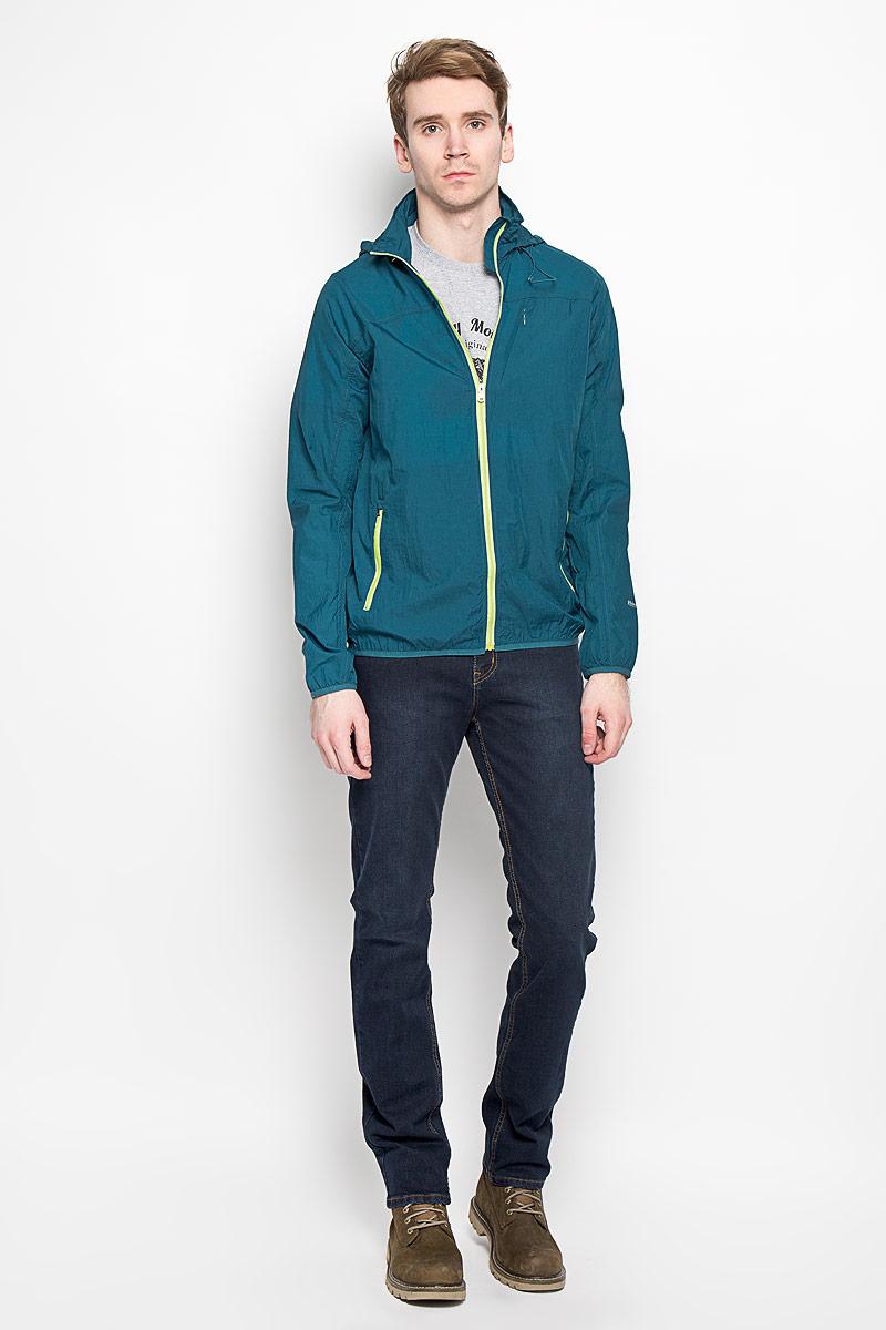 Ветровка мужская F5, цвет: темно-бирюзовый. 140861/6334. Размер S (46)140861Стильная мужская куртка-ветровка F5, выполненная из 100% нейлона, превосходно подойдет для прохладных дней.Модель с длинными рукавами-реглан, воротником-стойкой и несъемным капюшоном на резинке о стопперами застегивается на молнию с защитой подбородка. На воротнике предусмотрен потайной карман на липучках, внутрь которого убирается капюшон. Ветровка спереди дополнена тремя прорезными карманами на застежке-молнии. Низ рукавов и низ изделия дополнены эластичной резинкой. На левом рукаве имеется небольшая светоотражающая термоаппликация в виде надписи. Такая ветровка не промокает и не продувается. Модель надежно сохранит тепло и защитит вас от ветра и дождя.