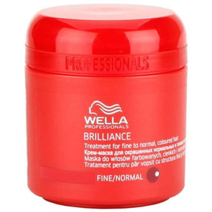 Wella Крем-маска Brilliance Line для окрашенных жестких волос, 150 мл115524Для усиления блеска и яркости цвета используйте крем- маску для окрашенных жестких волос. Помимо придания необыкновенного сияния и блеска, крем-маска Wella, имеющая в составе бриллиантовую пыльцу, создает объем при укладке, отлично ухаживает за волосами после окрашивания, делает их более мягкими и послушными. Крем- маска имеет нежную текстуру, благодаря чему легко наносится и отлично впитывается, наполняет волосы силой и упругостью.Результат: использование крем -маски для окрашенных жестких волос приводит к усилению яркости и блеска, увеличению плотности структуры волоса.Состав: глиоксиловая кислота, экстракт орхидеи, пантенол, катионоактивный полимер, Витамин E, бриллиантовая пыльца.