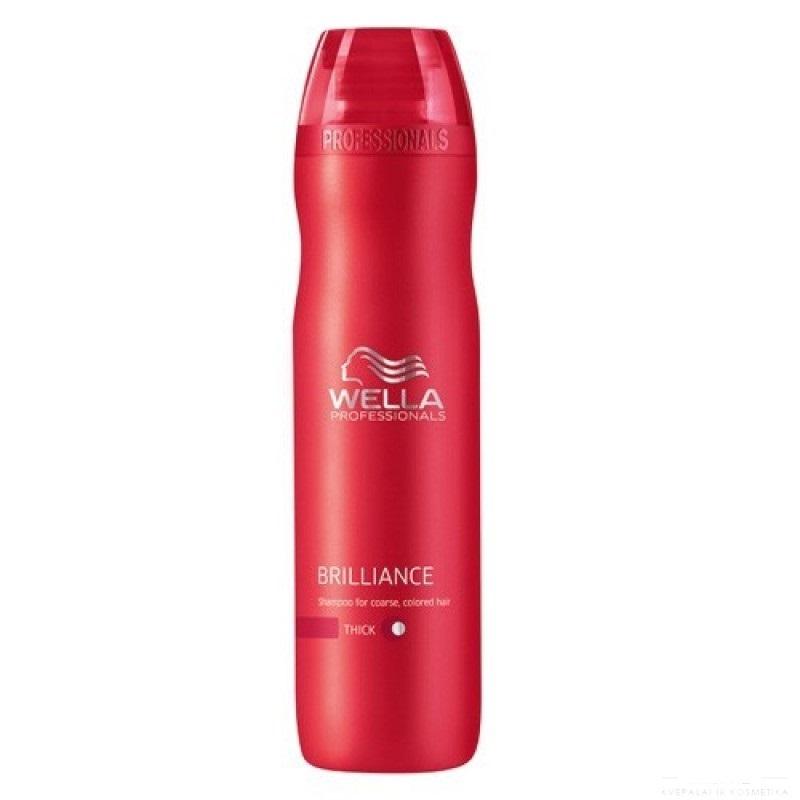 Wella Шампунь Brilliance Line для окрашенных жестких волос, 250 мл115685Для придания мягкости и сияющего блеска окрашенным жестким волосам, а также для защиты цвета от вымывания используйте Шампунь Wella линии Brilliance Professionals для окрашенных жестких волос.Средство имеет в своем составе бриллиантовую пыльцу, которая придает волосам мягкость и шелковистость. Благодаря уникальной формуле, надолго сохраняется стойкость цвета. За счет воздушной кремовой текстуры шампунь легко распределяется по волосам, обволакивает и защищает каждый волос, делает их более гладкими и мягкими.Результат использования: шампунь придает вашим локонам мягкость и сияющую яркость цвета, делает их более блестящими и послушными.
