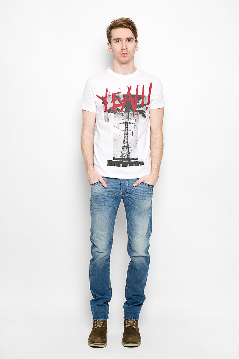 Футболка мужская Diesel, цвет: белый. 00SQX4-0091B. Размер L (50) футболка женская diesel цвет бордовый 00ss5z 0wady 43u размер l 50
