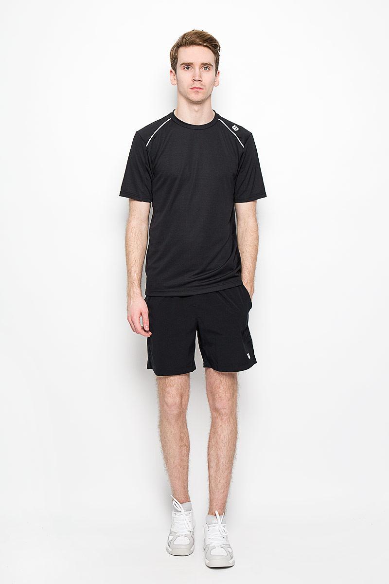 Футболка для тенниса мужская Wilson nVision Elite Crew, цвет: черный. WRA703009. Размер XL (50/52)WRA703009Стильная мужская футболка для тенниса Wilson nVision Elite Crew, выполненная из полиэстера, обладает высокой теплопроводностью, воздухопроницаемостью и гигроскопичностью и великолепно отводит влагу, оставляя тело сухим даже во время интенсивных тренировок. Такая футболка превосходно подойдет для занятий спортом и активного отдыха. Модель с короткими рукавами и круглым вырезом горловины - идеальный вариант для занятий спортом. Такая футболка обеспечит свободу движений. Дополнительная вентиляция предусмотрена для лучшего воздухообмена. Эргономичные швы минимизируют натирание кожи, исключая дискомфорт. Такая футболка подарит вам комфорт в течение всей игры и послужит замечательным дополнением к вашему гардеробу.