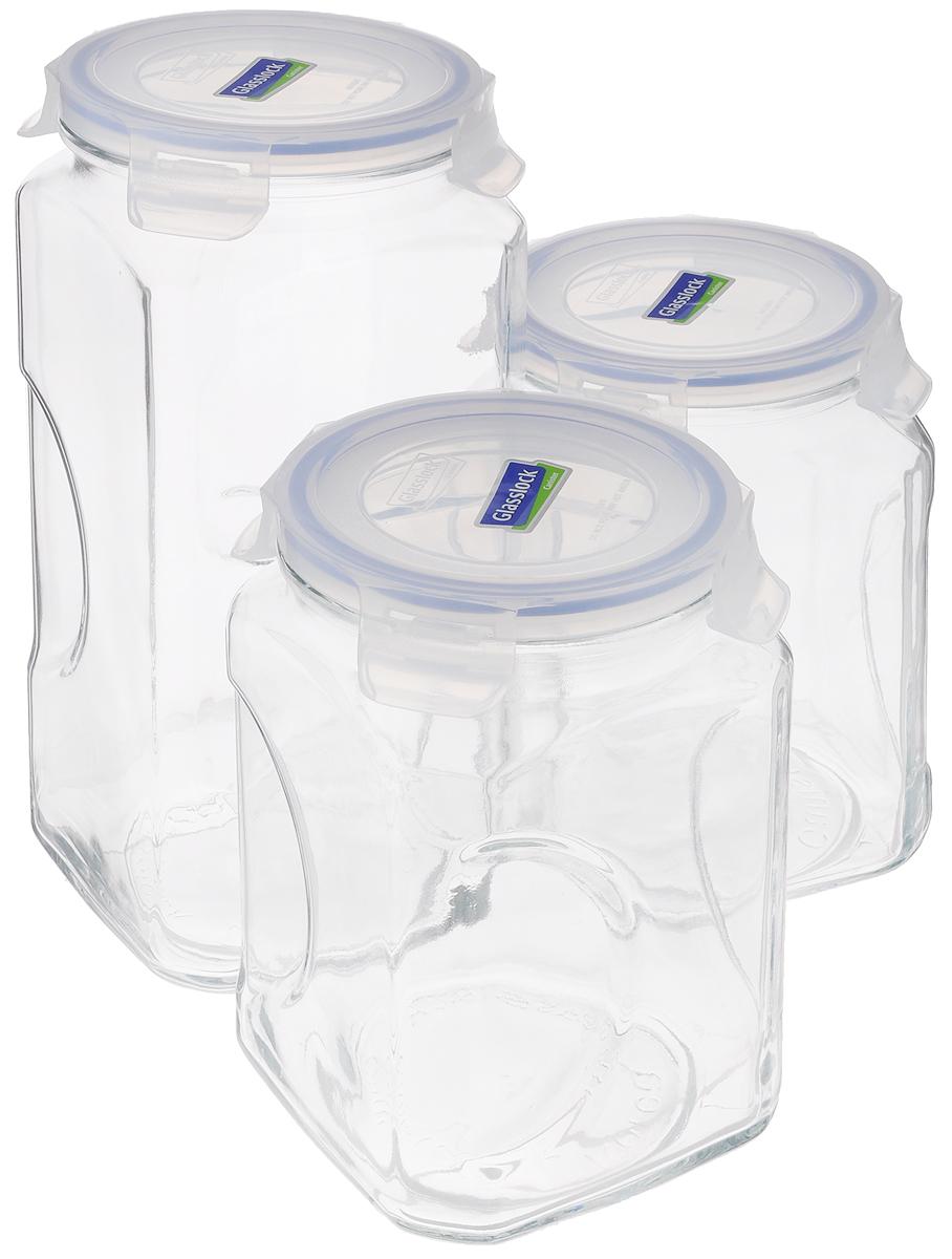 """Набор для сыпучих продуктов """"Glasslock"""" включает в себя 3  контейнера разного объема (1 контейнер объемом 3 литра, 2 контейнера объемом 2 литра).  Изделия изготовлены из высококачественного закаленного  ударопрочного стекла и оснащены плотно  закрывающимися пластиковыми крышками с 4 защелками.  Благодаря уплотнительной  резинке, крышки герметичны. Контейнеры прекрасно подходят  для хранения чая, кофе,  сахара,  специй, орехов , солений и других продуктов.Можно мыть  в посудомоечной машине. Объем контейнеров: 2 л, 3 л. Диаметр контейнеров по верхнему краю: 11,5 см. Высота контейнеров (с учетом крышки): 19 см; 27 см."""