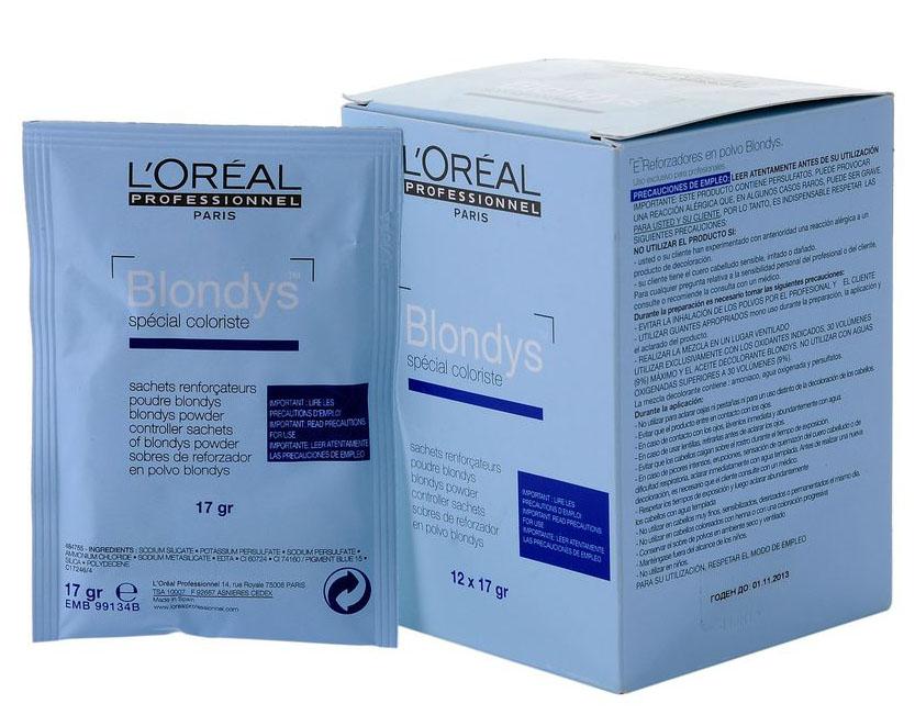 LOreal Professionnel Осветляющий порошок Blondys, 12 шт х 17 гE0011526Oreal Professionnel Blondys Осветляющий порошок-усилитель разработан специалистами компании Oreal Professionnel. Обладает высокой степенью нейтрализации цвета и предназначен только для натуральных, неокрашенных волос. Благодаря комплексу активных компонентов, порошок-усилитель имеет очень мягкое воздействие на структуру волос. Отлично готовит волосы к последующему окрашиванию, быстро и эффективно осветляет их в диапазоне от двух до шести тонов.