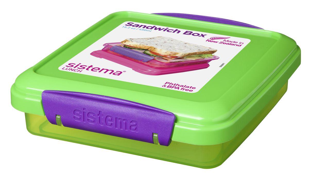 Контейнер для сэндвичей Sistema, цвет: салатовый, 450 мл31646_салатовыйКонтейнер Sistema создан для бутербродов и сэндвичей. В него входит стандартный сэндвич или два бутерброда. Компактный контейнер удобно брать с собой на работу или в дорогу. Пластик не выделяет вредных веществ, так как не содержит бисфенол А и фталаты.Специальный дизайн клипс гарантирует, что они не оторвутся как у обычных контейнеров. Уплотнитель в крышке сохраняет свежесть и аромат продуктов. Контейнер не является полностью герметичным, поэтому не рекомендуется для жидкой пищи.Можно мыть в посудомоечной машине. Объем: 450 мл. Размеры: 15,5 x 4,3 x 15 см.