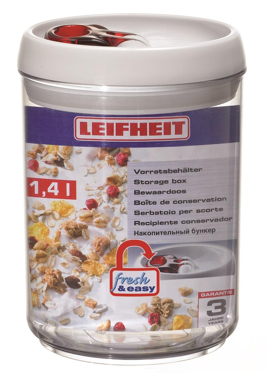Контейнер для хранения Leifheit Fresh&Easy, 1,4 л31202Контейнер Leifheit Fresh&Easy, изготовленный из прочного пластика, предназначен для хранения. Благодаря эксклюзивной технологии, емкостигерметично закрываются и открываются, при помощи только одной руки.Размер контейнера: 13 х 13 х 18 см.