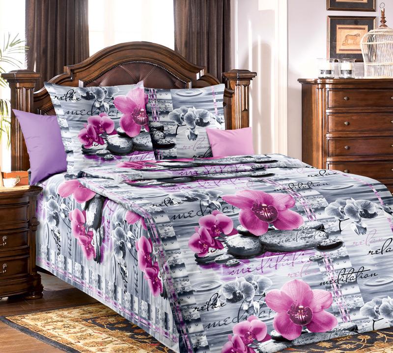 Комплект белья Текс-Дизайн Орхидея, 1,5-спальный, наволочки 70х70 двуспальный комплект белья орхидея 3d 5067 1 вологодские кружева