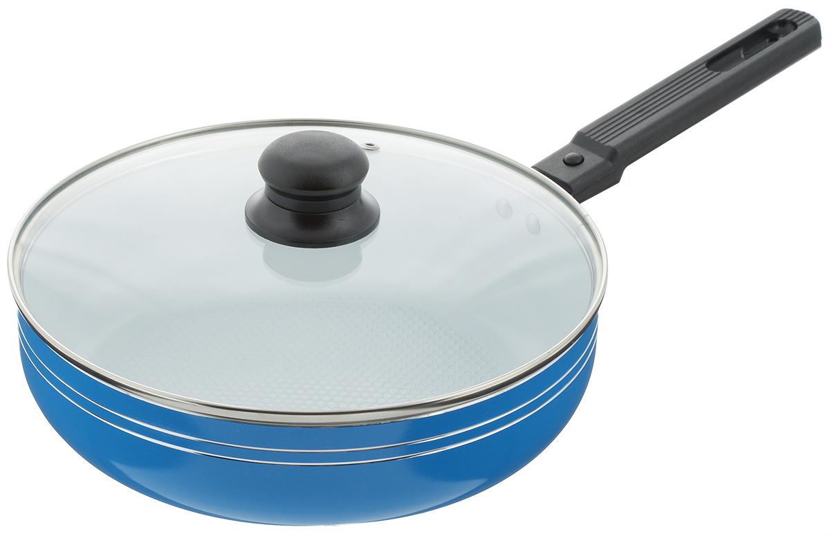 Сковорода-сотейник Добрыня с крышкой, с керамическим покрытием, со съемной ручкой, цвет: синий. Диаметр 24 см. DO-5011DO-5011Сковорода-сотейник Добрыня изготовлена из алюминия с керамическим покрытием. Керамика не содержит вредных примесей ПФОК, что способствует здоровому и экологичному приготовлению пищи. Кроме того, с таким покрытием пища не пригорает и не прилипает к стенкам, поэтому можно готовить с минимальным добавлением масла и жиров. Внутреннее керамическое покрытие обладает антипригарными свойствами и не выделяет вредных веществ.Пластиковая съемная ручка специального дизайна удобно лежит в руке. Сковорода оснащена стеклянной крышкой с отверстием для выхода пара.Подходит для использования на газовых, электрических, стеклокерамических плитах. Не подходит для индукционных. Можно мыть в посудомоечной машине.Диаметр: 24 см.Высота стенки: 6,5 см.Длина ручки: 16,5 см.