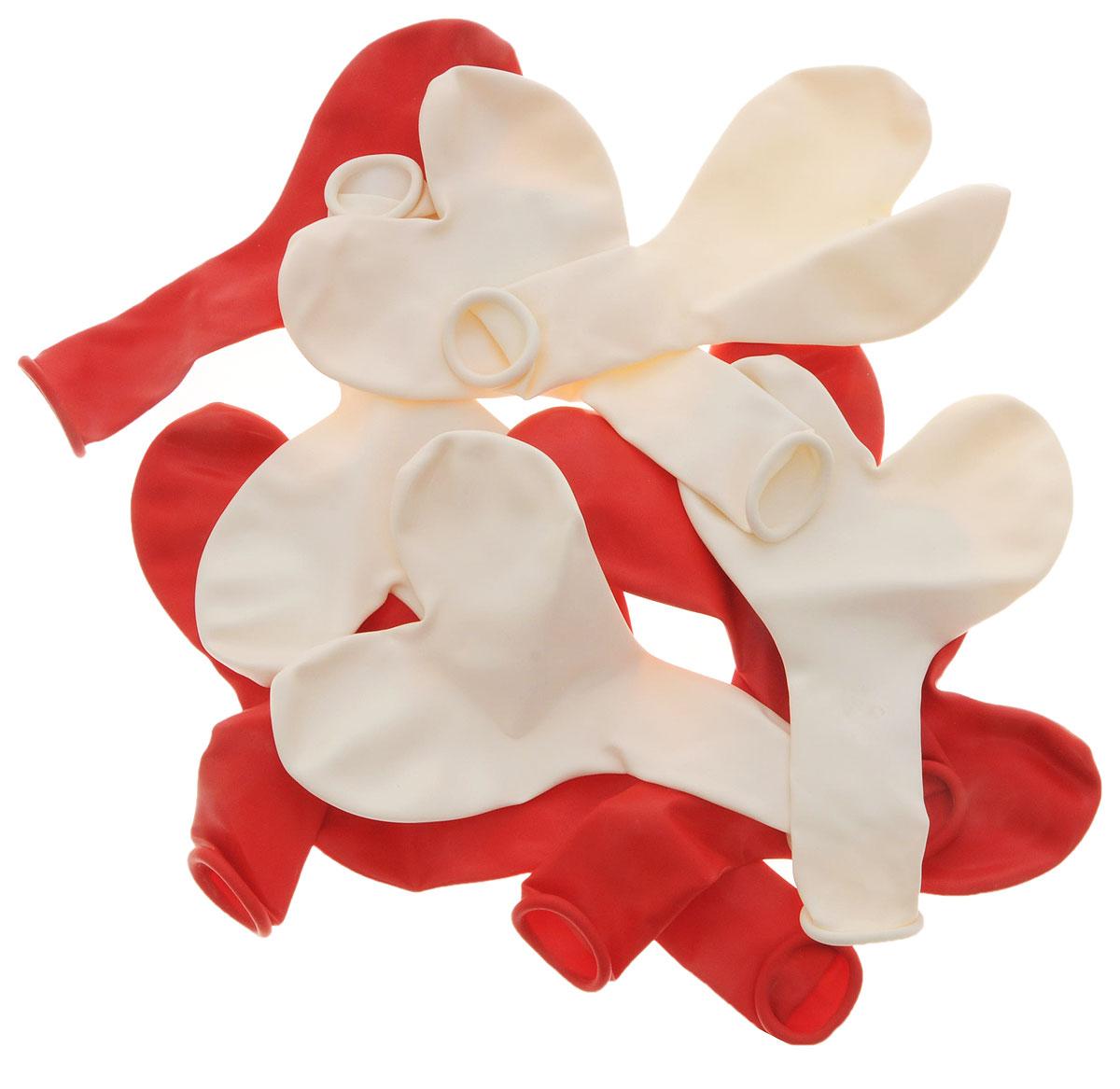Action! Шары воздушные Сердечки красный белый 10 шт