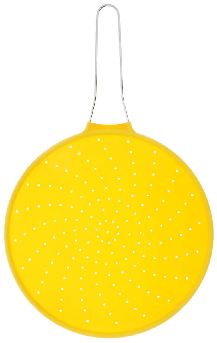 Экран от брызг Mayer & Boch, цвет: желтый, диаметр 30 см4436-4Экран Mayer & Boch выполнен из экологически чистого высококачественного силикона. Ручка изготовлена из металла. Изделие прекрасно защищает плиту от загрязнения при жарке. Предназначено для посуды диаметром 30 см и меньше. Экран выдерживает температурный диапазон от - 40°C до +210°C. Легко моется и хранится. Прост и удобен в использовании. Диаметр экрана: 30 см.Длина ручки: 18 см.