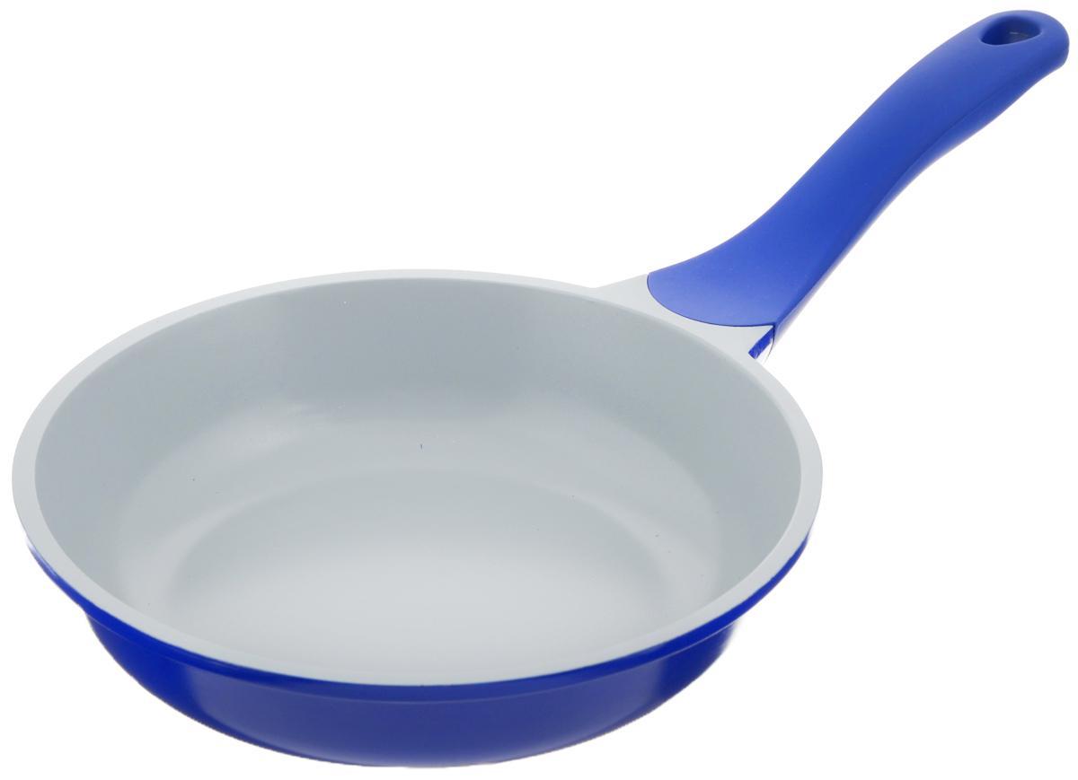 Сковорода Biostal, с керамическим покрытием, цвет: синий, серый. Диаметр 20 см. FP-20Bio-FP-20 синий/серыйСковорода Biostal выполнена из литого алюминия с многослойным керамическим покрытием Ceralon на основе натуральных компонентов швейцарского производства Ilag. Утолщенное дно изделия обеспечивает равномерное распределение тепла по всей рабочей поверхности. Ненагревающаяся эргономичная ручка из бакелита с покрытием soft-touch обеспечит удобный захват, превращая процесс приготовления пищи в удовольствие. Можно готовить с минимальным количеством масла.Подходит для использования на газовых, электрических и стеклокерамических плитах, кроме индукционных. Можно мыть в посудомоечной машине.Диаметр сковороды: 20 см. Высота стенки: 5 см. Длина ручки: 18 см.