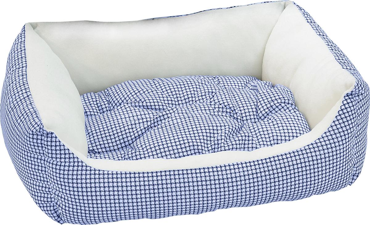 Лежак для животных Зооник Диван, цвет: синий, белый, 56 х 42 х 16 см22187/4Лежак для животных Зооник Диван прекрасно подойдет для отдыха вашего домашнего питомца. Предназначен для собак мелких пород и кошек. Изделие выполнено из прочной ткани. Снабжено невысокими широкими бортиками и съемной мягкой подушкой. Комфортный и уютный лежак обязательно понравится вашему питомцу, животное сможет там отдохнуть и выспаться. Размер лежака: 56 х 42 х 16 см.Наполнитель: синтепон.Ткань: хлопок